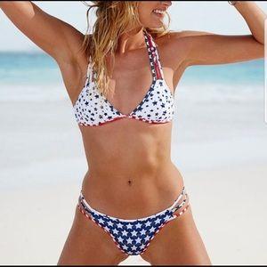 Victoria's Secret Swim - Victoria's Secret USA flag white bikini top -SMALL